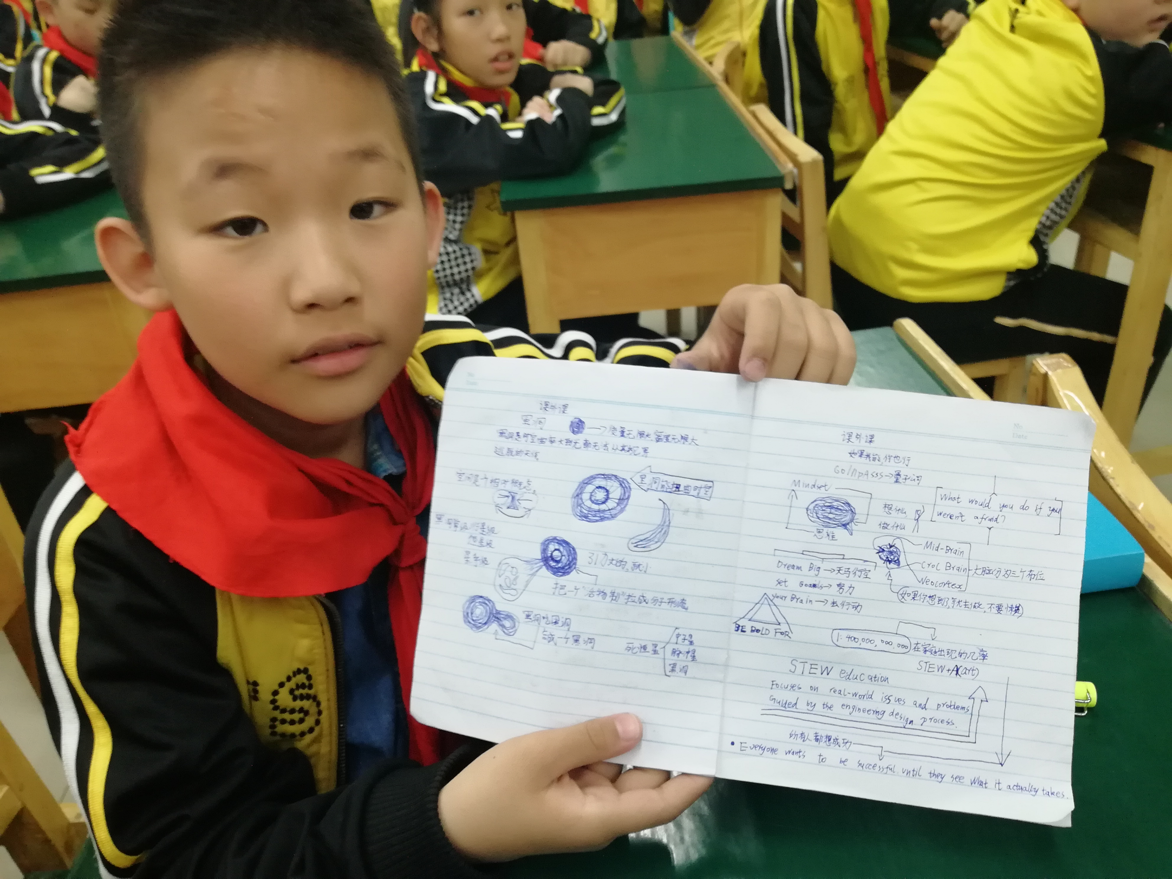 A pupil showing his notes recorded during the presentation